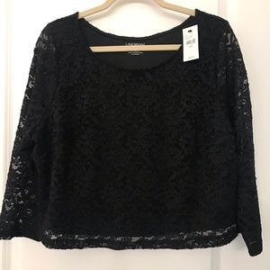 NWT Lane Bryant black lace crop top